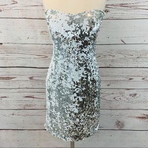 Lily Rose silver and white sequin strapless dress